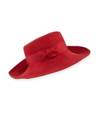 Eric Javits Candice Velour Fedora Hat W Ribbon Bow Red