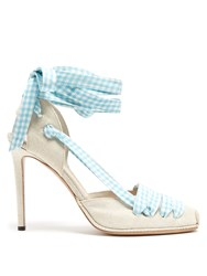 Altuzarra D'orsay Gingham Ribbon Linen Pumps Blue Multi