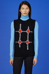 Raf Simons Knitted Abstract Graphic Vest Black