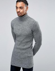 Asos Longline Muscle Fit Ribbed Roll Neck Jumper Black And White Twist Grey