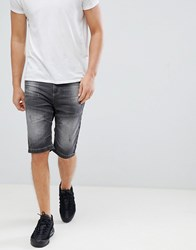 Crosshatch Washed Black Denim Shorts Black Grey