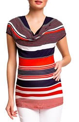 Women's Pietro Brunelli 'Ginestra' Maternity Nursing Tunic Red Blue Stripes