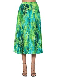 Versace Pleated Jungle Print Twill Midi Skirt Blue
