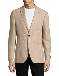 Michael Kors Cotton And Linen Blazer Khaki