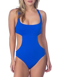 Polo Ralph Lauren Solid Cutout One Piece Swimsuit Blue