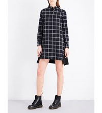 Izzue Checked Cotton Dress Navy