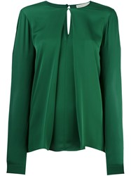 Michael Michael Kors Inverted Pleat Longsleeved Blouse Green
