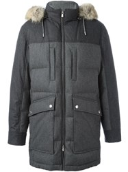 Brunello Cucinelli Padded Hooded Coat Grey