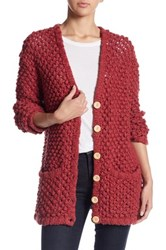 For Love And Lemons Mulberry Handknit Cardigan Red