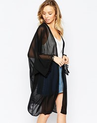 Ax Paris Kimono With Pom Pom Trim Black