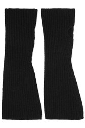 Madeleine Thompson Nicola Ribbed Cashmere Fingerless Gloves Black