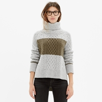 Madewell Cityblock Turtleneck Sweater In Colorblock