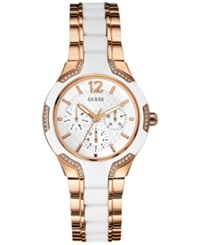 Guess Women's White Silicone And Rose Gold Tone Steel Bracelet Watch 36Mm U0556l3