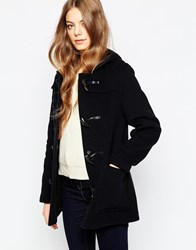 Gloverall Short Duffle Coat In Navy Blue
