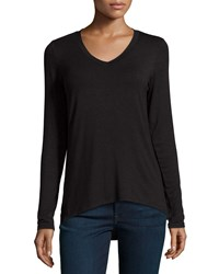 Dex Slub Knit Long Sleeve V Neck Tee Black