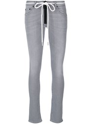 Off White Zip Up Skinny Jeans Women Cotton Polyester Spandex Elastane 26 Grey