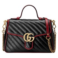 Gucci Gg Marmont Small Top Handle Bag Black Leather