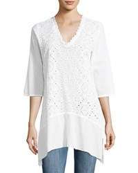 Johnny Was Taffy Eyelet V Neck Tunic White