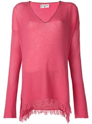 Danielapi Frayed Hem Jumper Pink And Purple
