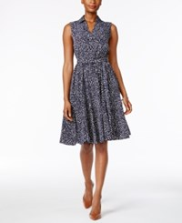 Charter Club Fit And Flare Shirtdress Only At Macy's Intrepid Blue Combo