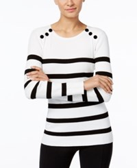 Inc International Concepts Petite Velvet Button Striped Sweater Only At Macy's Black White