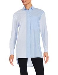 Dkny Striped Button Front Shirt Oxford Blue