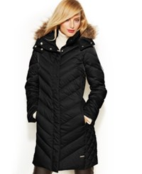 Kenneth Cole Reaction Hooded Faux Fur Trim Quilted Down Puffer Coat