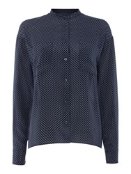 Gant Silk Dot Print Blouse Navy