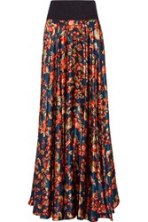 Zac Posen Pleated Floral Print Silk Satin Maxi Skirt Multi