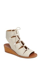 Lucky Brand Women's Gizi Wedge Sandal Sand Shell Leather