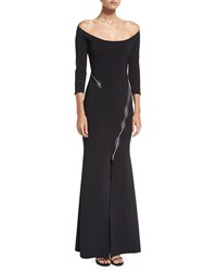 La Petite Robe Di Chiara Boni Elektra Zip Off The Shoulder Long Sleeve Evening Gown Black