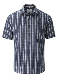 Skopes Check Classic Fit Short Sleeve Classic Collar Shi Navy