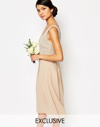 Maya Tonal Embellished Midi Dress Beige