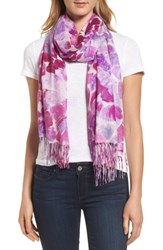 Nordstrom Women's Marine Mosaic Print Wool And Cashmere Scarf Pink Combo