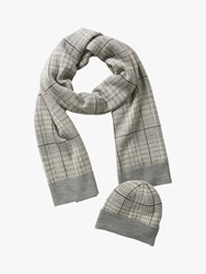 Betty Barclay Check Hat And Scarf Set Cream Grey