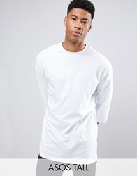 Asos Tall Oversized 3 4 Sleeve T Shirt In White White