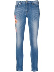 Blumarine Cropped Floral Sequinned Jeans Blue
