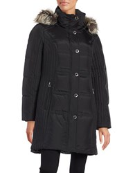 Anne Klein Faux Fur Trimmed Quilted Jacket Black