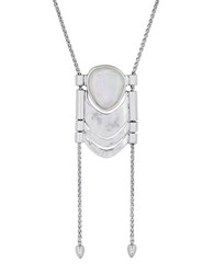 Lucky Brand Key Items White Mother Of Pearl And Semi Precious Rock Crystal Silvertone Bolo Necklace