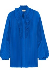 Balenciaga Pleated Georgette Blouse Bright Blue