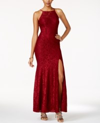 Speechless Juniors' Illusion Lace Side Slit Gown Wine