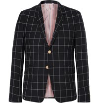 Thom Browne Blue Windowpane Checked Wool Blazer Navy