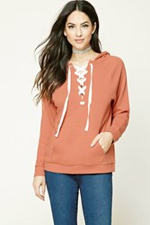 Forever 21 French Terry Lace Up Hoodie