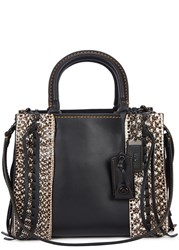 Coach Rogue 25 Leather And Snake Tote Black