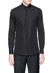 Neil Barrett Zipper Collar Cotton Poplin Shirt Black