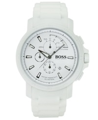 Hugo Boss Watch Men's Chronograph White Silicone Strap 47Mm 1512848