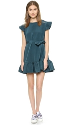 Cynthia Rowley Trapunto Belted Dress Dark Teal
