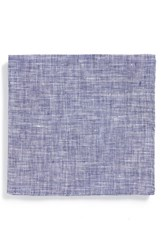 Men's Todd Snyder White Label Solid Linen Pocket Square Blue Indigo