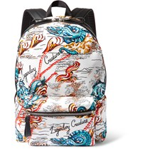 Alexander Mcqueen Leather Trimmed Printed Canvas Backpack White