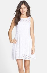 Women's Bb Dakota 'Renley' Lace Fit And Flare Dress Optic White